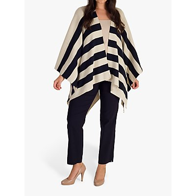 chesca Stripe Shawl, Cream/Navy