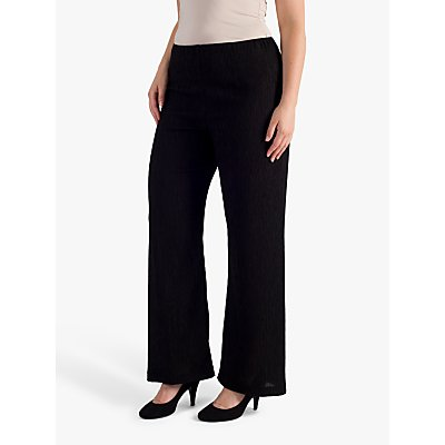 chesca Textured Crinkle Trousers, Black