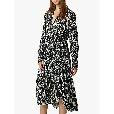 French Connection Bruna Floral Shirt Dress, Black/Classic Cream