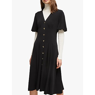 French Connection Serafina Button Through Dress, Black