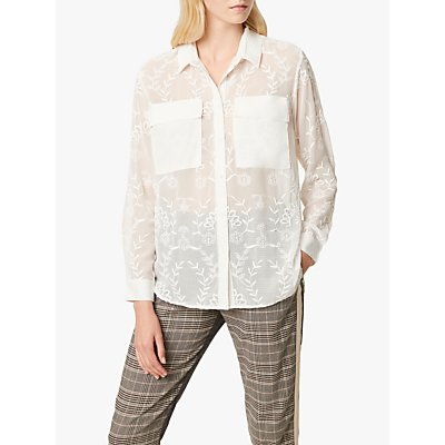 French Connection Cornelia Embroidered Shirt, White