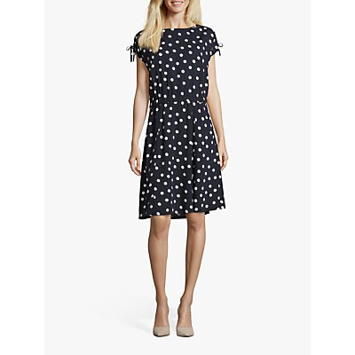 Betty Barclay Polka Dot Print Dress, Dark Blue/Cream