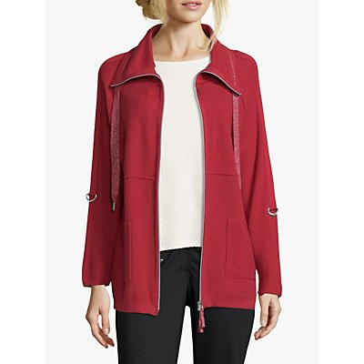 Betty Barclay Funnel Neck Cardigan, Red Scarlet