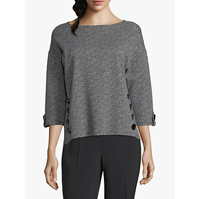 Betty Barclay Tweed Effect Buttoned Top, Black/Cream