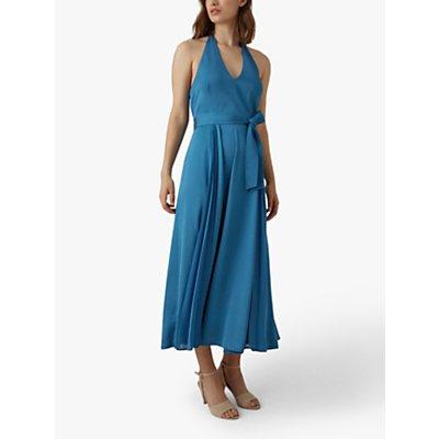 Karen Millen Pleated Halterneck Maxi Dress, Blue