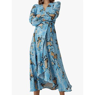 Karen Millen Snake Print Wrap Dress, Blue/Multi