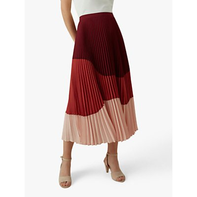 Karen Millen Tonal Pleated Skirt, Red/Pink