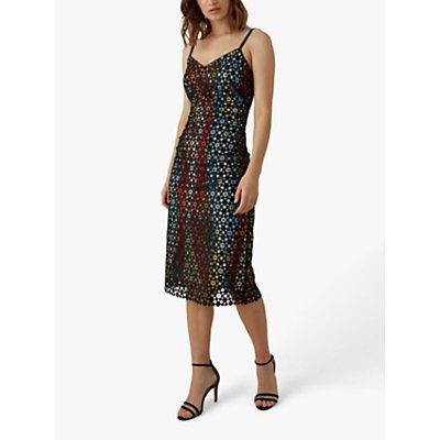 Karen Millen Lace Print Dress, Black/Multi