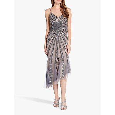 Adrianna Papell Beaded Mesh Dress, Mercury/Nude