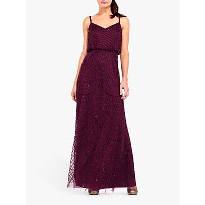 Adrianna Papell Blouson Beaded Maxi Dress, Cassis
