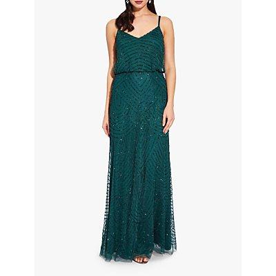 Adrianna Papell Beaded Pattern Maxi Dress, Dusty Emerald
