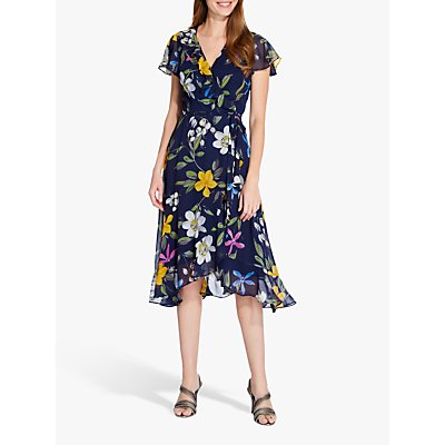 Adrianna Papell Floral Wrap Dress, Navy