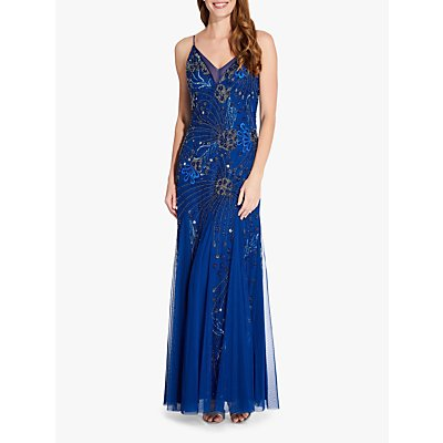 Adrianna Papell Floral Beaded Gown, Night Blue