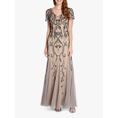 Adrianna Papell Beaded Maxi Dress, Mercury/Nude