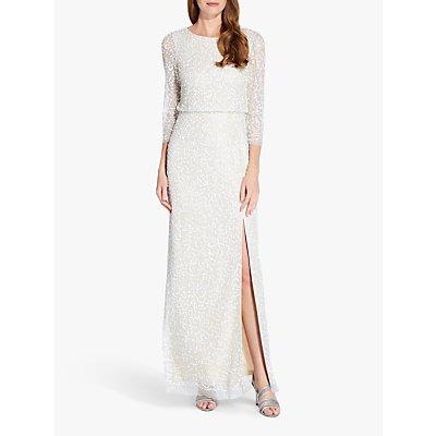 Adrianna Papell Beaded Long Dress, Ivory