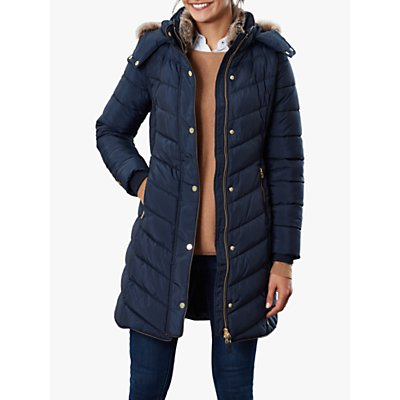 Joules Cherington Chevron Quilted Faux Fur Detail Coat, Marine Navy