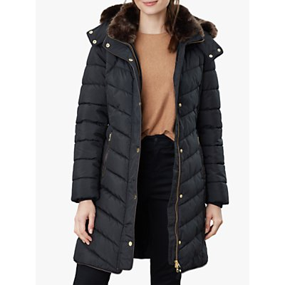 Joules Cherington Chevron Quilted Faux Fur Detail Coat, True Black