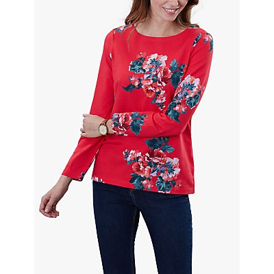 Joules Harbour Floral Print Jersey Top, Red