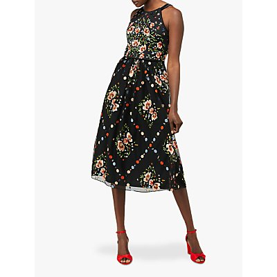 Monsoon Apple Embellished Midi Dress, Black
