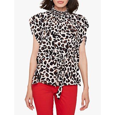 Damsel in a Dress Aliz Leopard Print Blouse, Camel/Multi