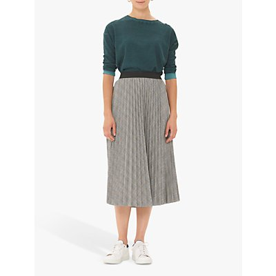 Gerard Darel Tia Check Print Pleated Midi Skirt, Grey