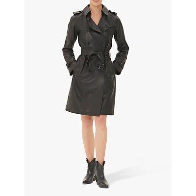 Gerard Darel Noah Leather Trench Coat, Black