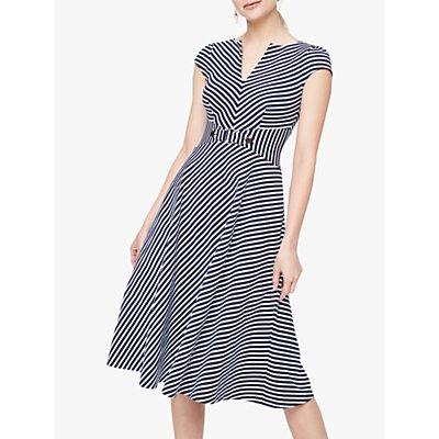 Damsel in a Dress Tilly Stripe Midi Flare Dress, Navy/Ivory