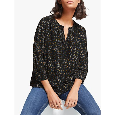 Collection WEEKEND by John Lewis Micro Floral Easy Button Blouse, Black/Yellow