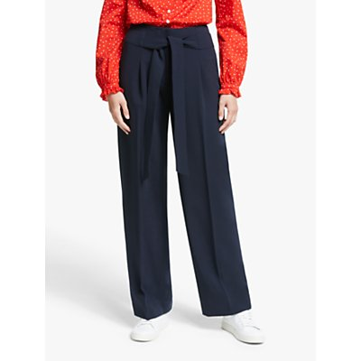 Boden Ketton Wide Leg Belted Trousers, Saffron
