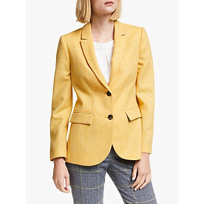 Boden Smyth Tweed Blazer, Yellow Herringbone