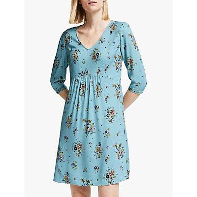 Boden Eliza Draped Floral Dress, Heritage Blue