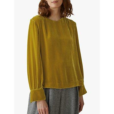 Toast Silk Velvet Long Sleeved Top, Gold
