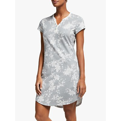 John Lewis & Partners Keeley Floral Print Short Sleeve Nightdress, Grey