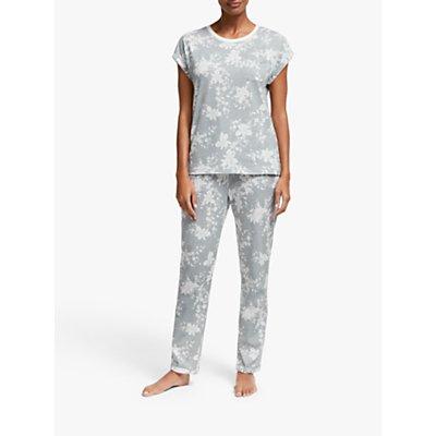 John Lewis & Partners Keeley Floral Print Short Sleeve Pyjama Set, Grey