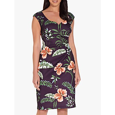 Adrianna Papell Tropical Printed Dress, Plum