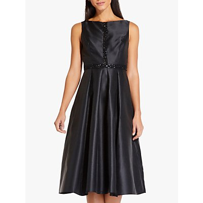 Adrianna Papell Beaded Mikado Dress, Black