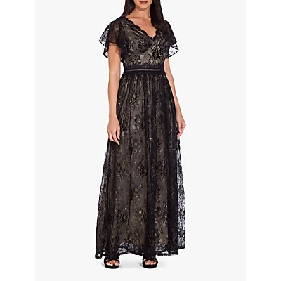 Adrianna Papell Metallic Lace Maxi Dress, Black/Gold