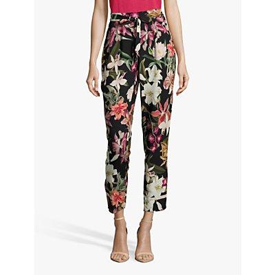 Betty & Co. Floral Trousers, Black/Purple