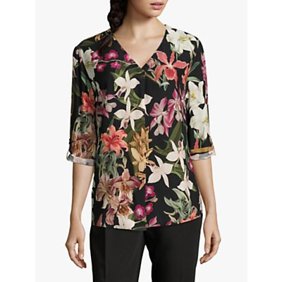 Betty & Co Floral Print Blouse, Black/Purple