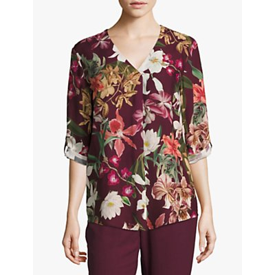 Betty & Co. Floral Print Blouse, Purple/Cream