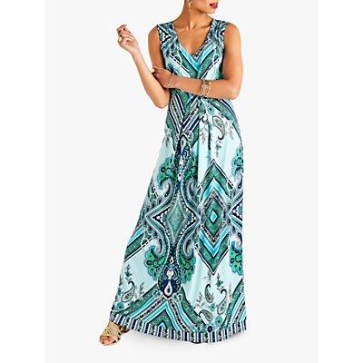 Yumi Ocean Paisley Print V-Neck Maxi Dress, Blue