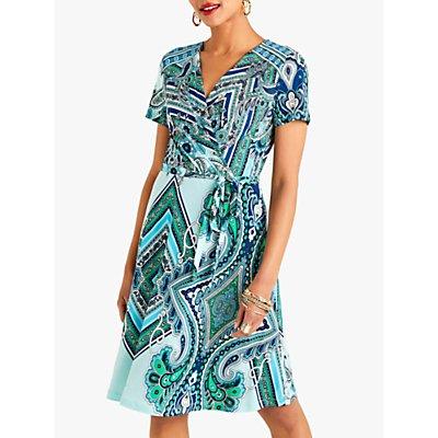 Yumi Ocean Paisley Print V-Neck Wrap Dress, Blue