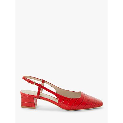 Boden Kiera Leather Croc Heeled Slingback Court Shoes, Red