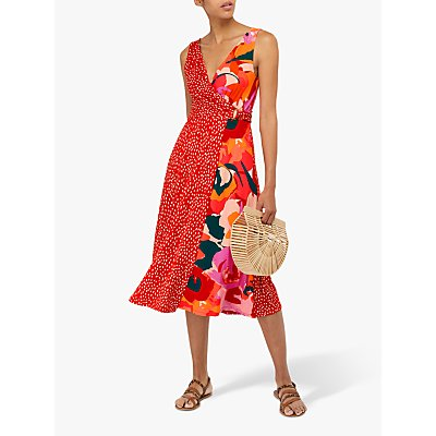 Monsoon Saige Jersey Print Midi Dress, Red/Multi