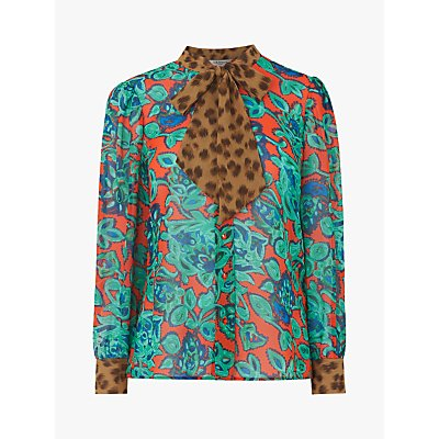 L.K.Bennett Wylie Silk Paisley Leopard Tie Neck Blouse, Multi