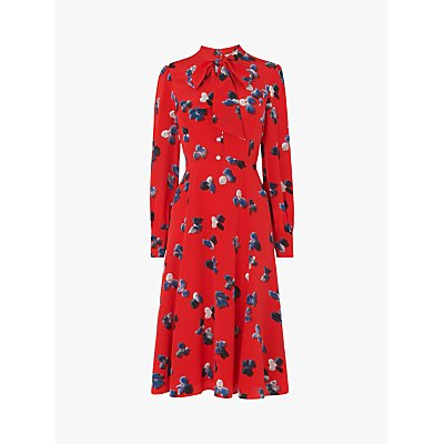 L.K.Bennett Mortimer Silk Floral Tie Neck Dress, Red