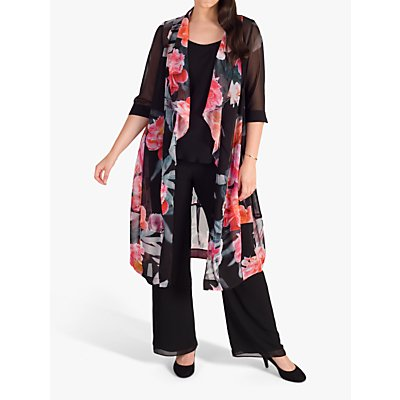 chesca Peony Print Shawl Collar Chiffon Coat, Black/Pink