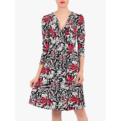 Jolie Moi Floral Print Tie Front Dress, Black/Multi