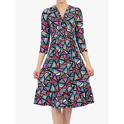 Jolie Moi Print Sleeved Flare Hem Dress, Purple/Multi