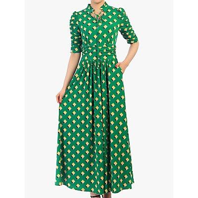 Jolie Moi Geo Print Tie Collar Half Sleeve Maxi Dress, Green/Multi